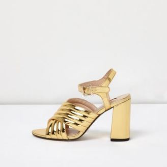 River Island Womens Gold patent cross strappy heels