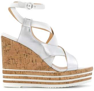 Hogan interwoven strap wedges