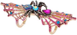 Betsey Johnson Halloween Cz Spider & Spider Web Double Finger Ring