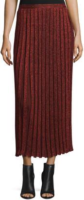 Suno Pleated Metallic Midi Skirt, Red