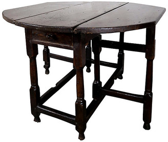 One Kings Lane Vintage 19th C. English Walnut Gate-Leg Table
