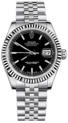 Rolex Datejust Steel and White Gold Black Stick Dial 31mm Watch