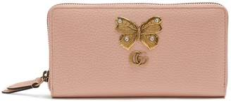 Gucci Butterfly-embellished leather wallet