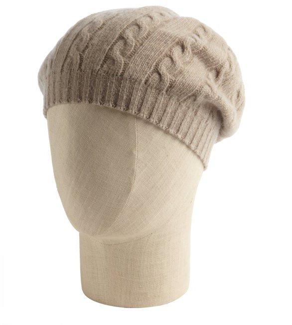 Portolano cream cashmere cable knit beanie hat