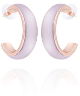 T Tahari Frosted Lucite Hoop Earring