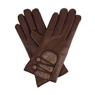Gizelle Renee - Catherine Dark Brown Leather Gloves With Brown Speckle Wool