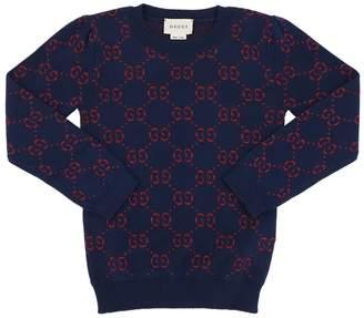 Gucci Jacquard Logo Cotton Blend Sweater
