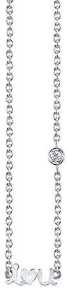Shy by Sydney Evan Women's White Rhodium Plated Sterling Silver Diamond Bezel I Love You Necklace of Length 41.275 cm