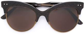 Bottega Veneta woven panel round frame sunglasses