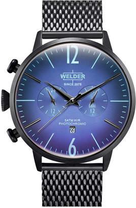 Welder Men Black Stainless Steel Mesh Bracelet Watch 45mm