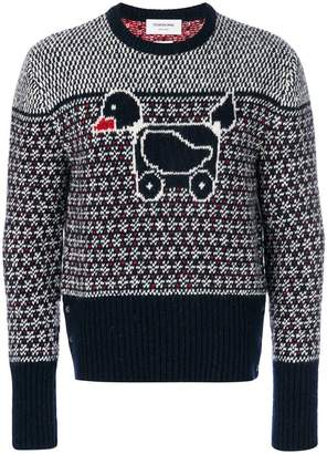Thom Browne Duck Icon Jacquard Knit Mohair Tweed Crewneck Pullover