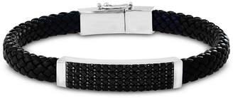 Effy Men Black Spinel Braided Leather Bracelet in Sterling Silver