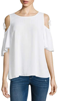 A.N.A Tie Sleeve Cold Shoulder Short Sleeve Crew Neck Woven Blouse