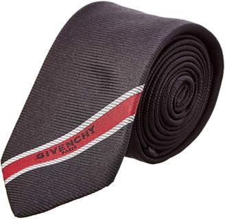 Givenchy Black & Red Stripe Silk Tie