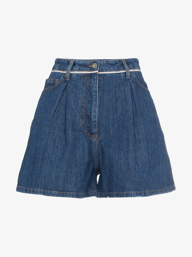 Denim Mini Pleat Front Shorts