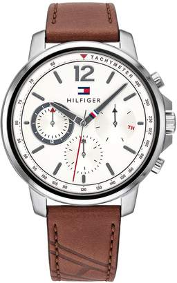Tommy Hilfiger Watch with Light Brown Flag Leather Strap