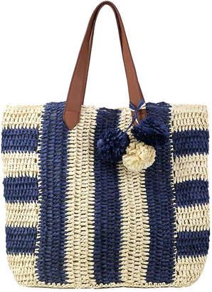 OLIVIA MILLER Olivia Miller Pippy Multi Striped Straw Tote Bag