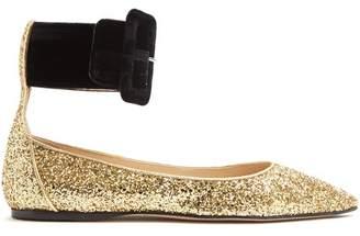 ATTICO Julia Contrast Strap Glitter Flats - Womens - Gold Multi