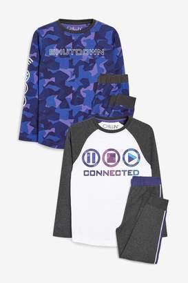 Next Boys Purple Camouflage 2 Pack Gaming Pyjamas (3-16yrs) - Purple