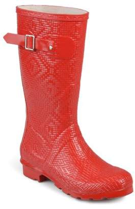 48a19131037f Womens Mid-calf Textured Basketweave Rubber Rainboots