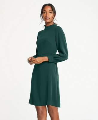 Ann Taylor Petite Mock Neck Flare Dress