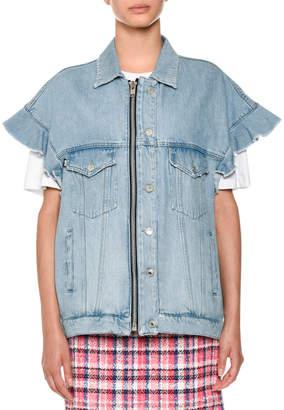 MSGM Short-Sleeve Denim Jean Jacket