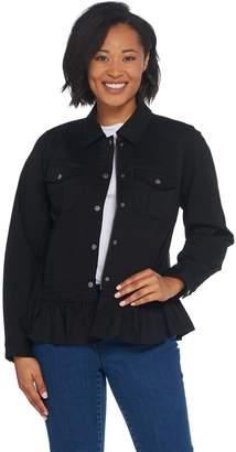 Denim & Co. Point Collar Snap Front Flounce Bottom Jacket