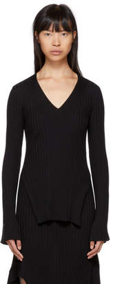 Stella McCartney Black Rib Knit Flared V-Neck Sweater