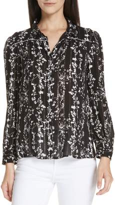 BA&SH Fiona Metallic Accent Floral Top