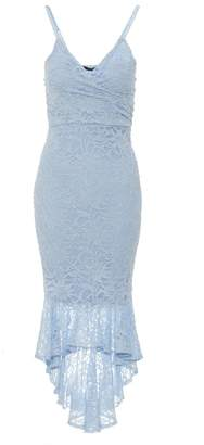 Quiz Blue Glitter Lace Wrap Dip Hem Dress