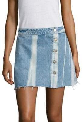 3x1 Higher Ground Distressed Denim Mini Skirt