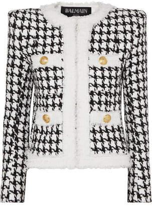 Balmain Button-embellished Houndstooth Tweed Blazer