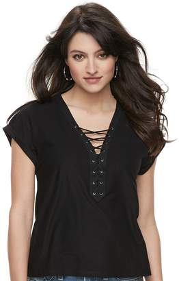 Rock & Republic Women's Lace-Up French Terry Tee