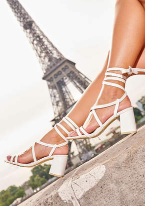 Missy Empire Liberty White Strappy Lace Up Heeled Sandals