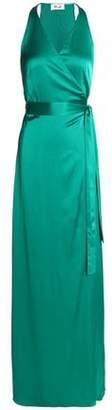 Diane von Furstenberg Satin Halterneck Wrap Gown