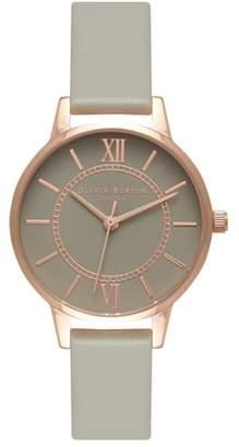 Olivia Burton 'Wonderland' Leather Strap Watch, 30mm