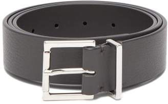 Maison Margiela Square Buckle Leather Belt - Mens - Dark Grey