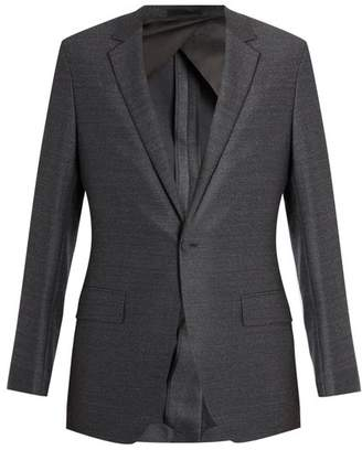 Kilgour Single Breasted Notch Lapel Wool Blazer - Mens - Charcoal