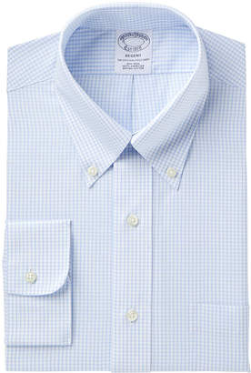 Brooks Brothers Men's Regent Slim-Fit Fit Non-Iron Polo Button Light Blue Windowpane Short Sleeve Dress Shirt