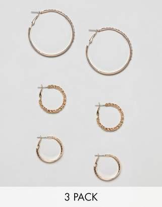 Bershka multi size hoop earrings x3