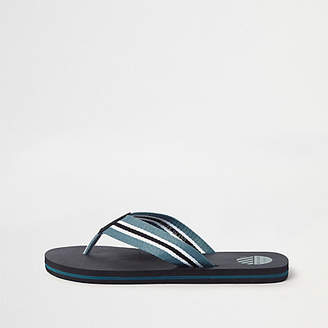 River Island Black stripe canvas flip flops