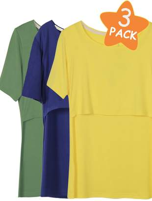 Smallshow 3 Pcs Nursing T-Shirt Nursing Tops,Navy-Yellow-Green