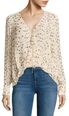 Derek Lam Floral Drape Front Silk Top