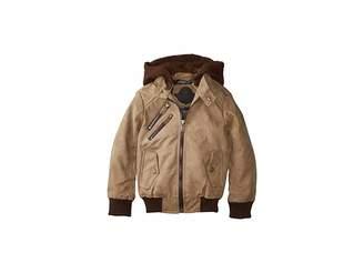 Urban Republic Kids Hemsworth PU Suede Moto Jacket w/ Fleece Hoodie (Little Kids/Big Kids)