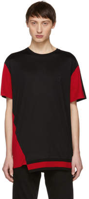 Alexander McQueen Black and Red Panelled T-Shirt