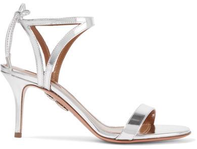 Aquazzura - Uma Mirrored-leather Sandals - Silver