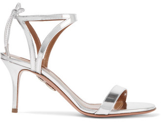 Aquazzura - Uma Mirrored-leather Sandals - Silver $715 thestylecure.com
