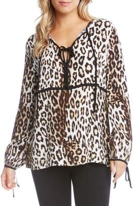 Karen Kane Blouson Sleeve Contrast Tie Top