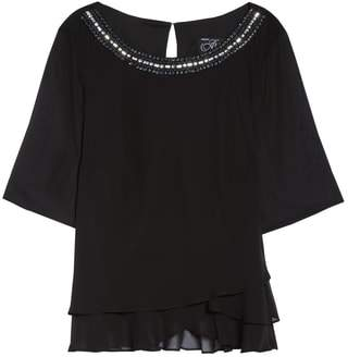 Alex Evenings Embellished Tiered Chiffon Blouse