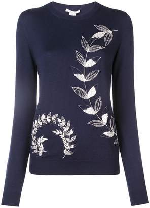 Oscar de la Renta leaf embroidered pullover